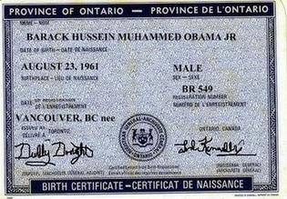 Obama Canadian Birth Certificate