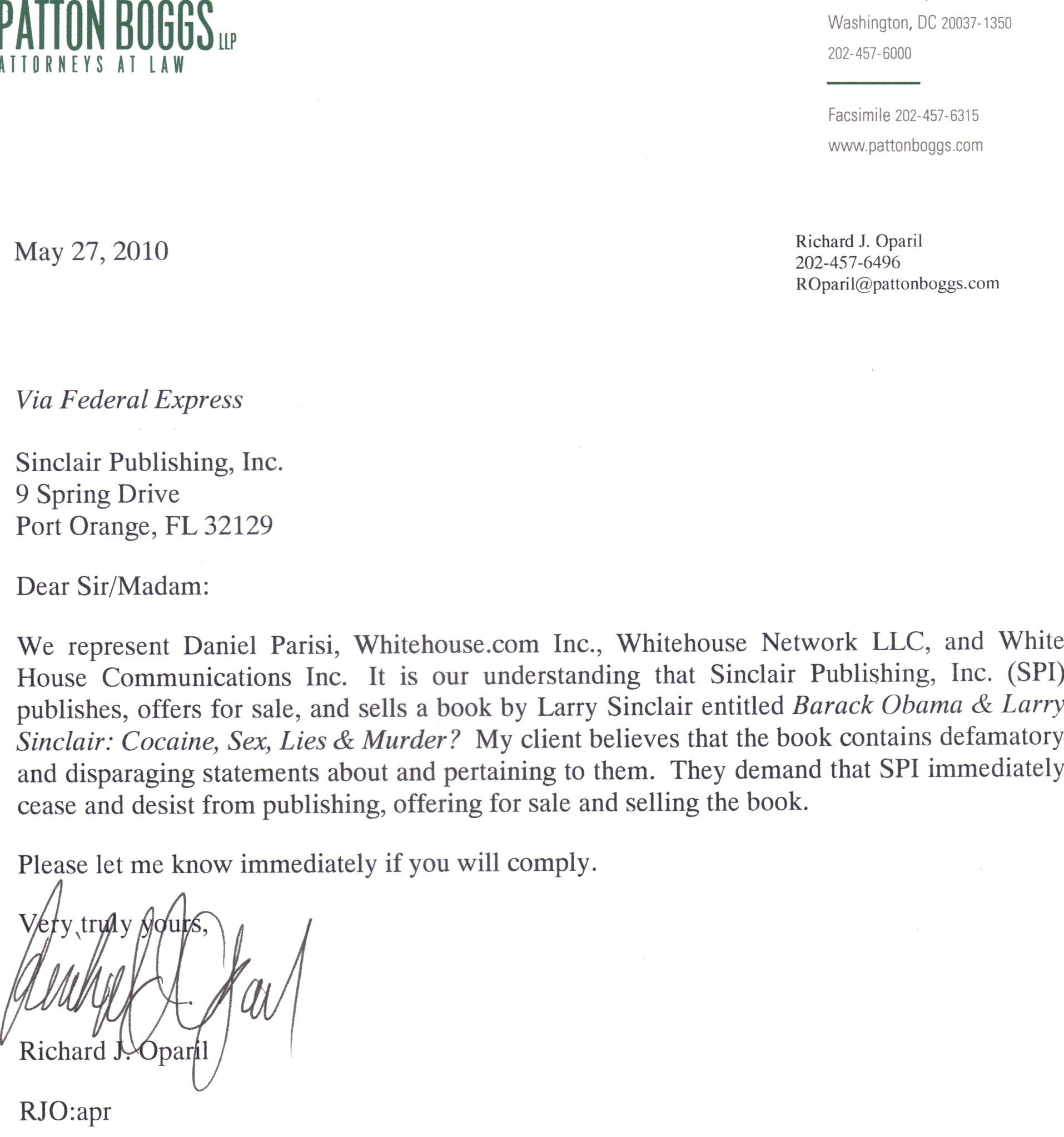 Sinclair Gets Cease & Desist Letter Over Book